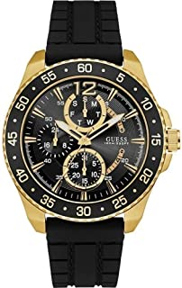 Guess Men's Chronograph Quartz Watch With Silicone Strap W0798G3, Black Band, Analog Display