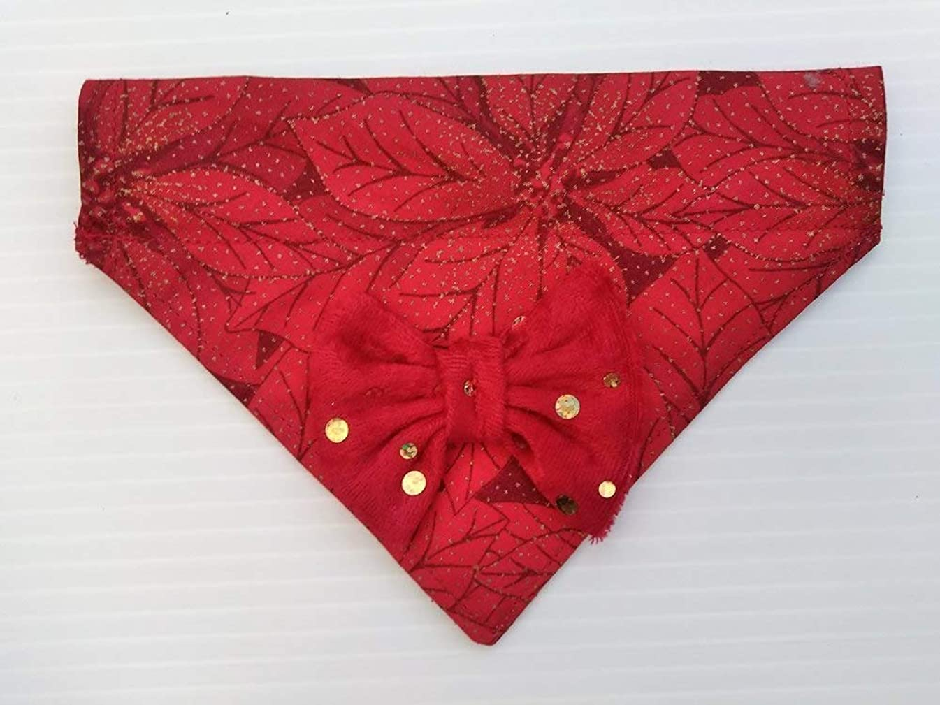 Festive Christmas Poinsettia No-Tie Dog Bandana with Red Velvety Sequined Bow