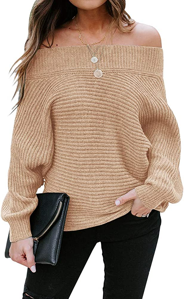 Foshow Womens Off Shoulder Batwing Sleeve Pullover Oversized Ribbed Knit Sweaters Casual Sexy Slouchy Jumper Tunic Tops
