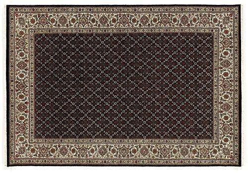 PARISA HERATI un tapis noué main d`orient classique laine noir - créme Taille: 120x180 cm