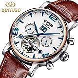 ANN KINYUED Automatische Mechanische Uhr, Tourbillon Mechanische Uhr Hochwertige Lederband Kratzfeste Spiegel Oberfläche Mechanische Uhr Für Männer,1