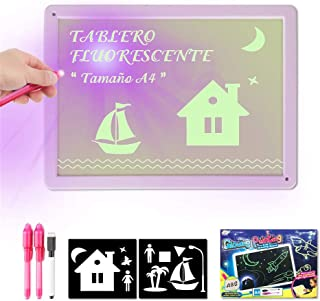 Draw with Light Fun and Developing Toy Drawing Board Magic Draw Educational for Kids (Purple, A3)