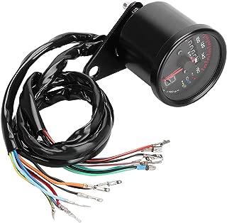 Universal Motorcycle Odometer,LED Odometer Gauge Universal Motorcycle Odometer Gauges with Aluminum House Gear LED Display, Black