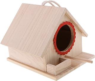 LOVIVER Casa de Pájaros Pajarera Nido Casa de Aves de Madera Natural con Cuerda Decorativa para Jardin en Invierno - 20x 2...