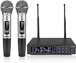 GEARDON Dual Wireless Microphone System, 200 Channel UHF Metal Cordless Handheld Mic Set with 250ft Long Range Professional Performance for Presentation/Church/Karaoke