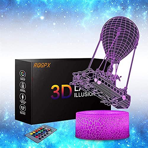 Lámpara de mesa con interruptor táctil, luz nocturna 3D, 16 colores, con mando a distancia, regalo de cumpleaños para niños