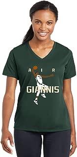 Green Milwaukee Air Giannis Pic Ladies V-Neck T-Shirt