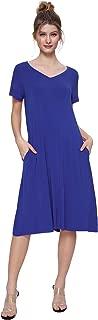 Women's T-Shirt Dress V-Neck Casual Dress with Pockets
