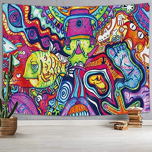 DYNH Tapiz psicodélico con diseño abstracto, misterioso tapiz hippie, colorido, patrón retro, trippy, tapiz de fantasía, mágico fractal para habitación, 152 x 102 cm