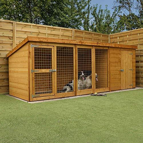 WALTONS EST. 1878 12x4 Wooden Shiplap Garden Dog Kennel & Run 12ft x 4ft