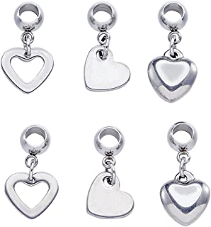 Beadthoven 30pcs 304 Stainless Steel European Large Hole Dangle with Heart Beads Fit for Jewelry Bracelet Necklace Making (Mixed Shaped)