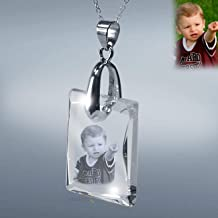Laser Photo Crystal Etching Pendant with Silver Chain, with Custom Picture in Galss by Goodcount- SH19