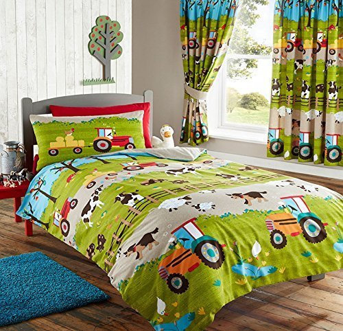 FARM YARD ANIMAL PIG DOG COW SHEEP TRACTOR DOUBLE DUVET QUILT COVER BEDDING SET