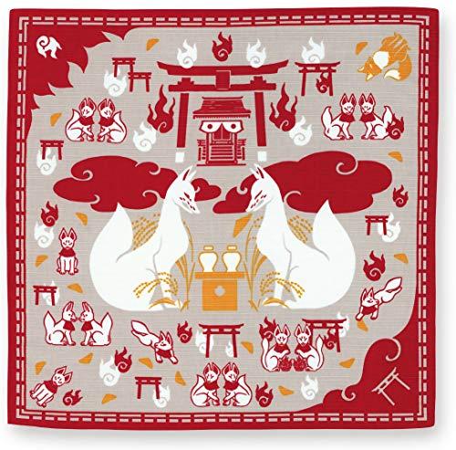 宮本 kenema 日本製 小風呂敷 お弁当 クロス 和柄 手捺染 百千狐稲荷 50×50cm 67693