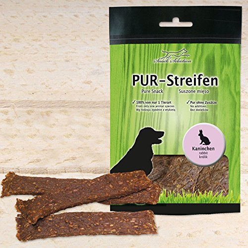 Schecker PUR Kaustreifen Kaninchen 5 x 100g getrocknet ohne Zusätze sauber weich Hundesnack