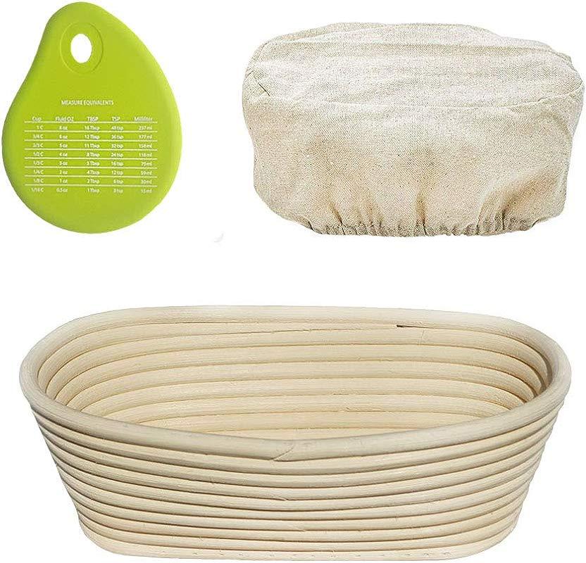 Senpulism Bread Proofing Basket Set 10 Inch Oval Banneton Bread Proofing Basket For Professional And Home Bakers Artisan Sourdough Proofing Basket Cloth Liner Dough Scraper
