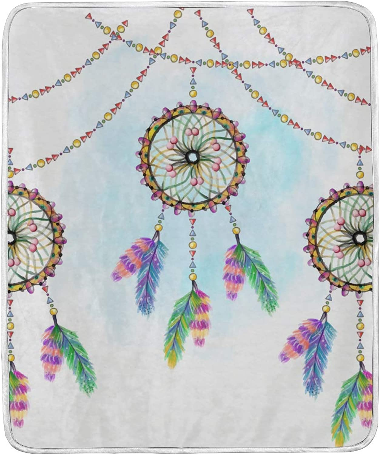VIMMUCIR Home Decor Watercolor Dream Catchers Garlands Blanket Soft Warm Throw Blankets Bed Sofa Lightweight Travelling Camping 50 x 60 Inch Kids Adults