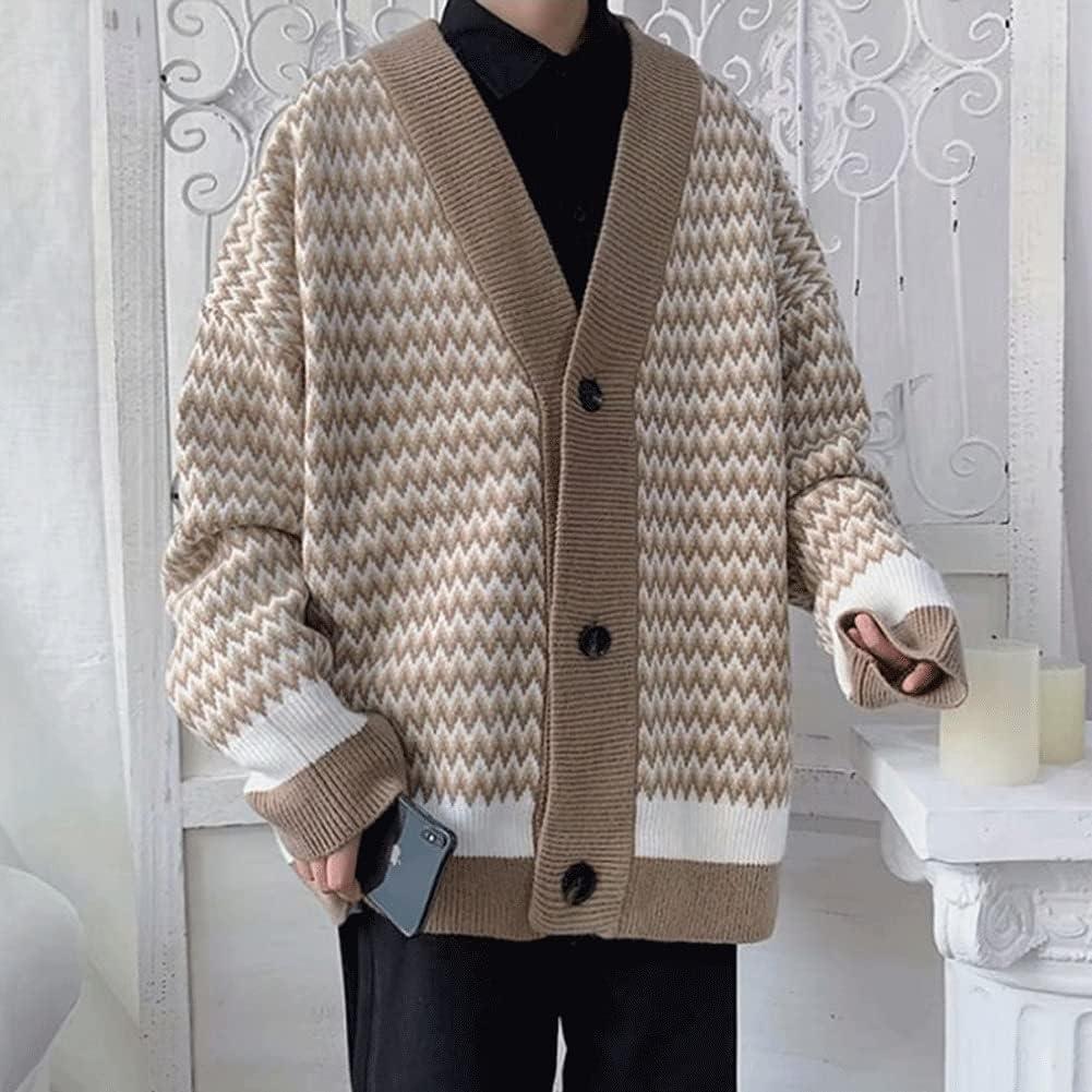 CFSNCM Men Cardigan Autumn Retro Striped Students Loose Plus Size XXL Soft Preppy Style Streetwear (Color : Khaki, Size : XL code)