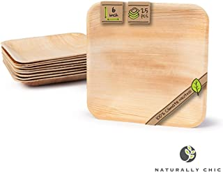 """Naturally Chic Compostable Biodegradable Disposable Plates - Palm Leaf 6"""" Square Dinnerware Set - Eco Friendly Alternative - Party, Wedding, Event Plates (25 Pack)"""