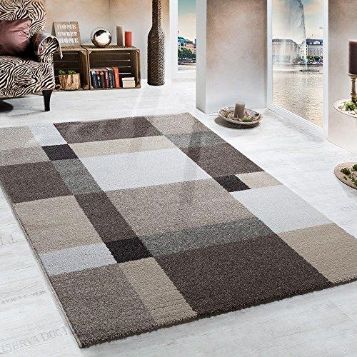 Paco Home Tapis Lourd Tissé Moderne Design Style Beige Crème Marron, Dimension:160x230 cm