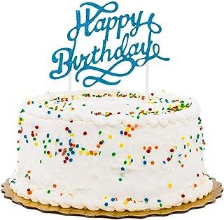 "Top Cake Blue Paper Happy Birthday Cake Topper - Glitter - 6"" x 6"" - 100 count box - Restaurantware"