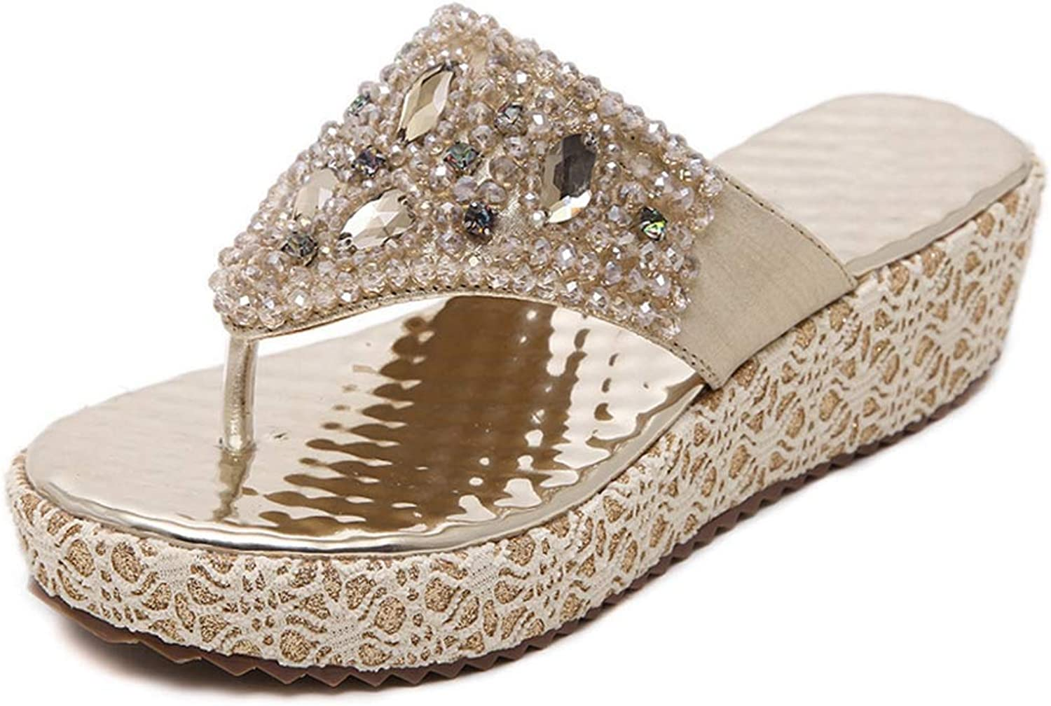 Women's Rhinestone Beaded Wedge Summer Sandals Female Fashion Large Size Comfortable Pinch Slippers