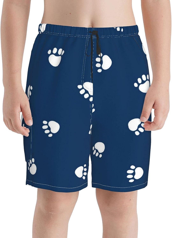 Navy Arlington Mall Blue Paw Print Boys Swim Trunks Sw Boardshorts Teens Beach Columbus Mall