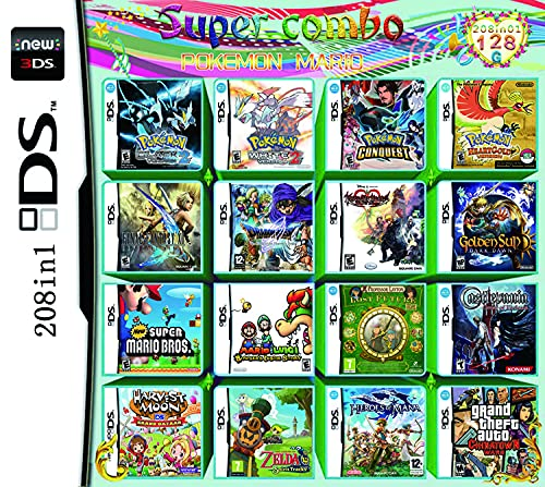208 in 1 giocos carta DS giocos Super Combo NDS Pacchetto gioco per DS NDS NDSL NDSi 3DS XL Nuovo