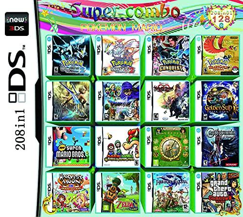 208 en 1 Jeu NDS Cartouche de Jeu DS Jeu Pack Super Combo pour DS NDS NDSL NDSi 3DS 2DS XL Nouveau