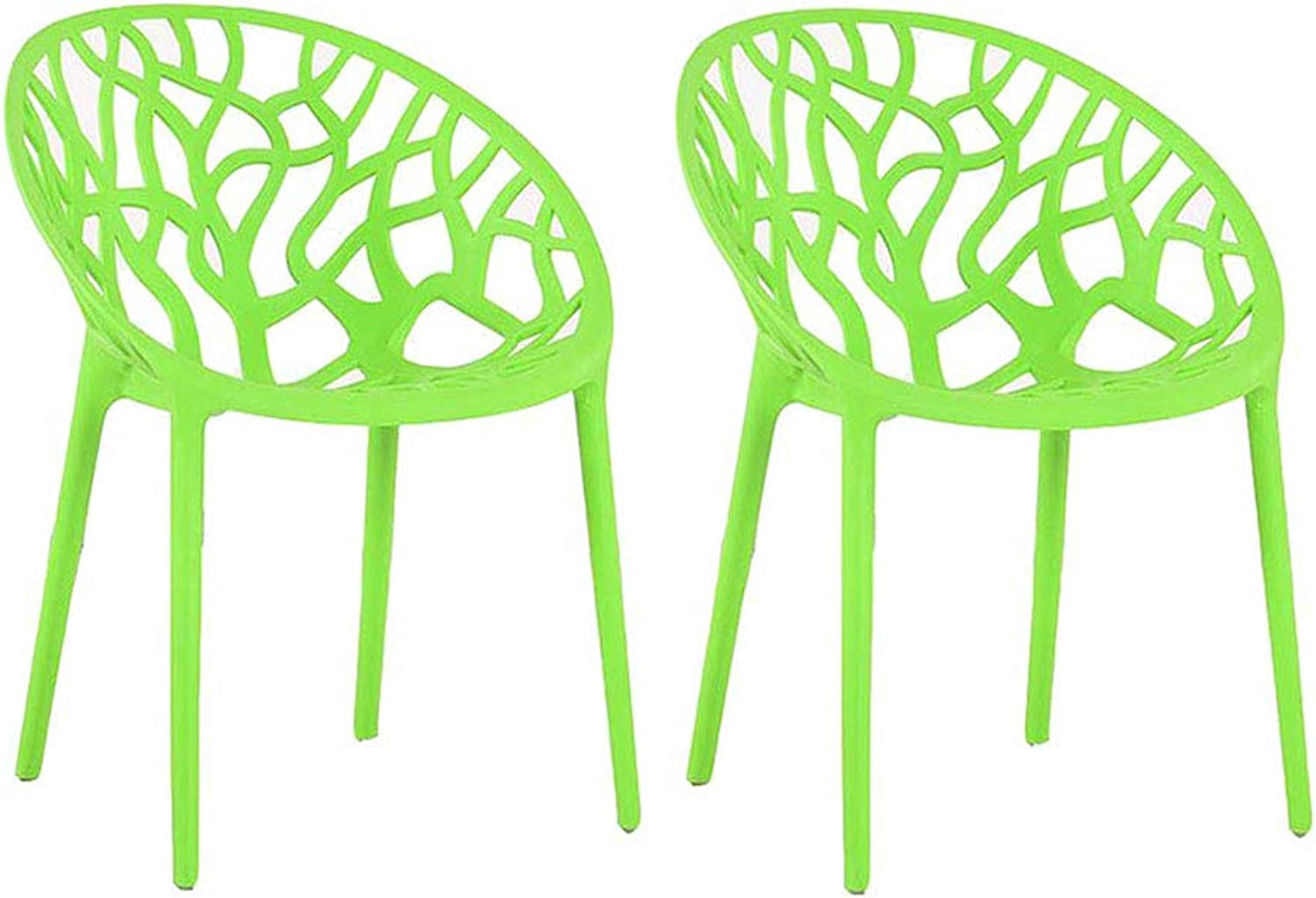 Plastic Dining Chair, Restaurant Modern Backrest Chair, Home Back Stool Leisure Chair - Package Includes  2 Chairs,Green