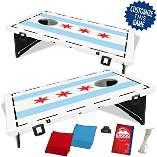Chicago Flag Baggo Bean Bag Toss Portable Cornhole Game