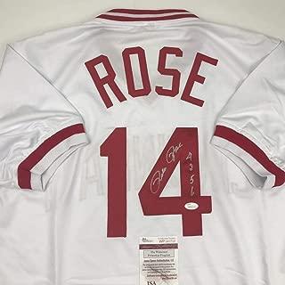 Autographed/Signed Pete Rose 4256 Cincinnati White Baseball Jersey JSA COA