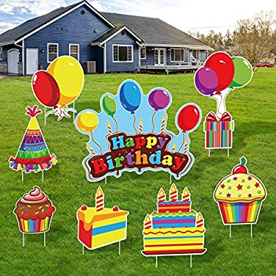 URATOT 8 Pack Happy Birthday Yard Sign Colorful Balloon Cupcake Yard Sign with Stakes Outdoor Lawn Decorations Party Decorations