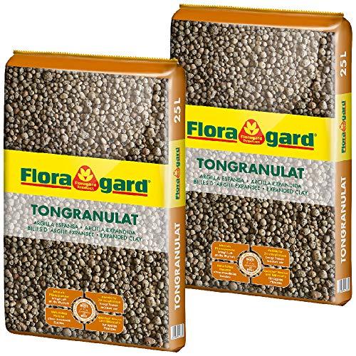 Floragard Blähton Tongranulat zur Drainage 2x25 L • Hydrokultursubstrat • für Pflanzkästen, Kübel oder Töpfe • Drainagematerial • 50 L