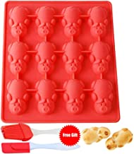 12 Little Pigs in a Blanket Silicone Baking Mold, Non Stick Silicone Molds for Muffin Tins| Easy Clean |BPA Free| Mini Cupcake Pan (Red Pig)
