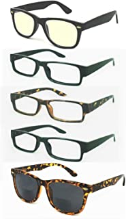 Pandora's Value 5 Pack All Purpose Reading Glasses-Men.Get Benefits:Anti Blue Light Computer,Sun and UV Protection!