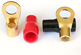 AIRIC 4 gauge ring terminal Crimp Style Gold Ring Terminals Soft Boot 3/8