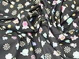 Eulen und Blumen Print Baumwolle Popeline Stoff, Meterware,