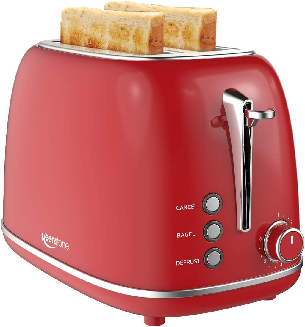 Keenstone Retro 2 Slice Toaster Steel Large-scale sale Bag 2021 Stainless with