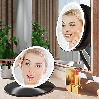 آینه آرایش ذره بین 2.5X ، آینه غرور 6 اینچ با چراغ های LED ، 3 حالت روشنایی رنگی ، صفحه لمسی آینه روشن قابل شارژ چند منظوره قابل حمل با وضوح بالا
