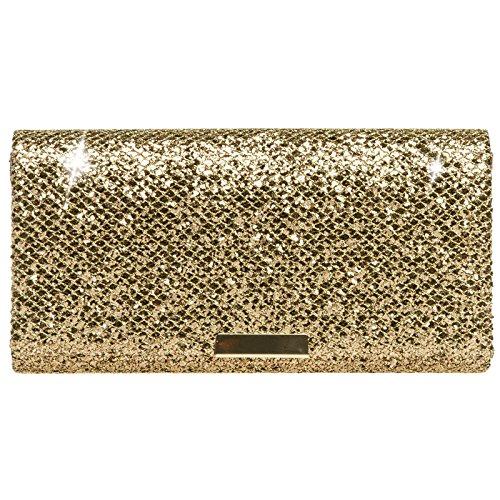Caspar TA342 Damen kleine elegante Glitzer Clutch Tasche Abendtasche, Farbe:bronze, Größe:One Size