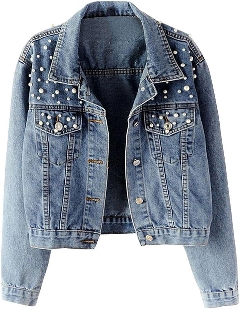 ManxiVoo Women's Long Sleeve Denim Jacket Pocket Beading Casual Plus Size Short Outwear Coat Jeans Jacket