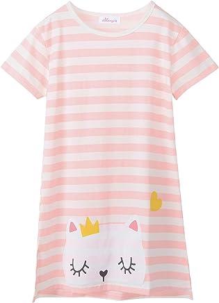 Allmeingeld Girls Bunny Nightgowns Rabbit Sleep Shirts Lace Sleepwear for 3-10 Years