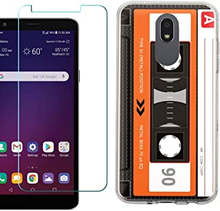 for LG Journey LTE Case, Slim-Fit TPU Protective Phone Case with Tempered Glass Screen Protector, by One Tough Shield - Cassette Orange