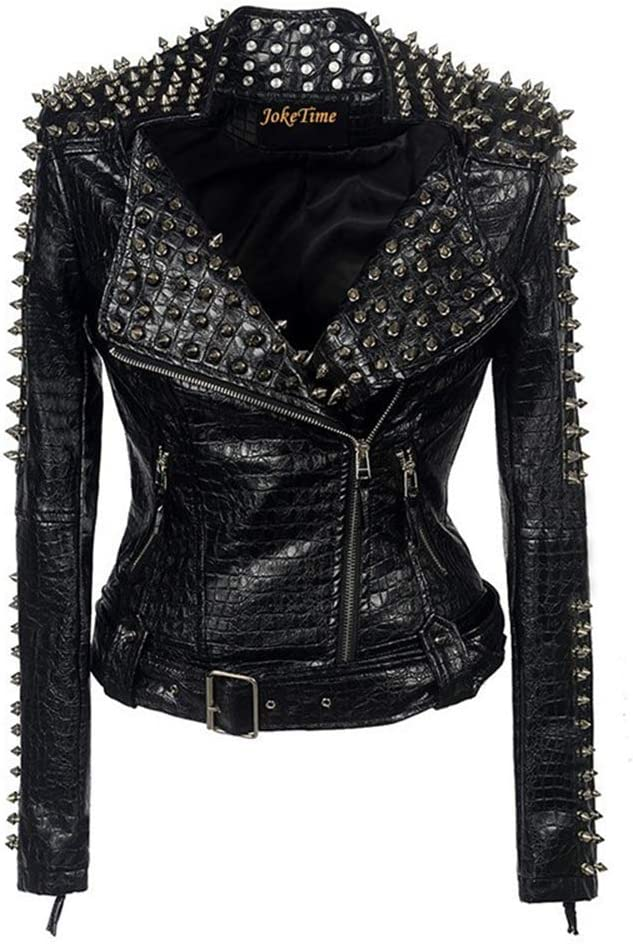 DFGHN Women Spring Long Sleeve Leather Jacket, Rivet Lapel Short Coat with Belt PU Punk Biker Jacket,M