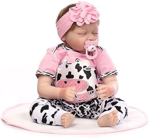 babypuppe Spielzeug, 12shage 55cm volle Silikon   Real Touch Baby waschbar lebensechte Reborn Puppen realistische Neugeborenes Baby Doll