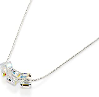 Sterling Silver Choice of Colors Necklace Made with Original Swarovski Cube Crystals