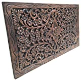 Asiana Home Decor Wood Carved Panel. Decorative Thai Wall Relief Panel Sculpture.Teak Wood Wall Hanging in Dark Brown Finish Size 24'x13.5'x0.5'