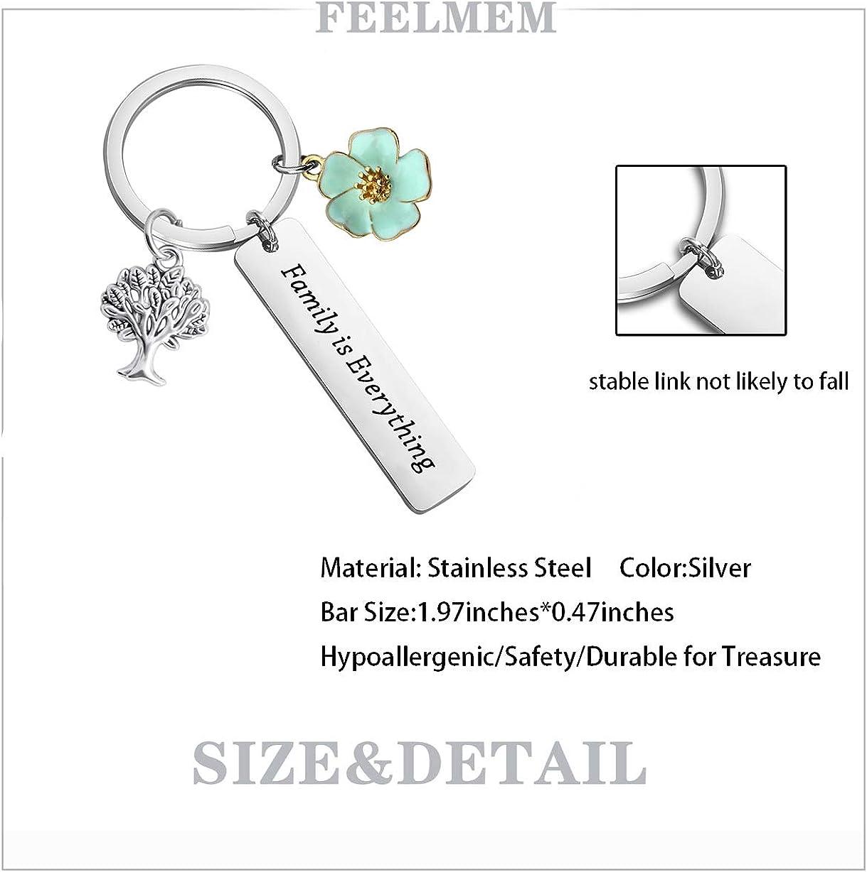 FEELMEM Ohana Jewelry Family Tree Keychain Family is Everything Hibiscus Flower Ohana Family Jewelry Family Member Gift