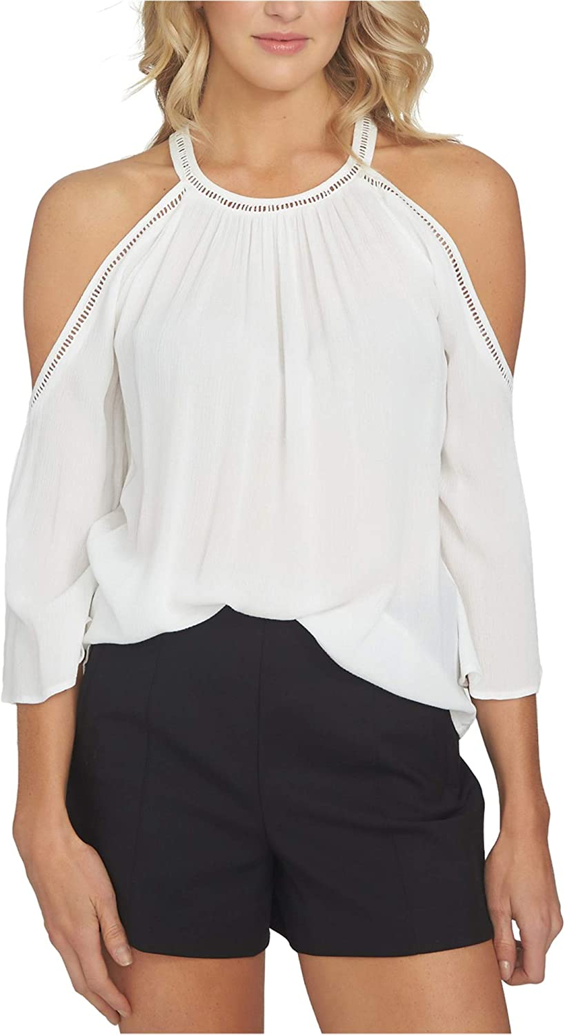 1.State Womens Cold Shoulder Knit Blouse